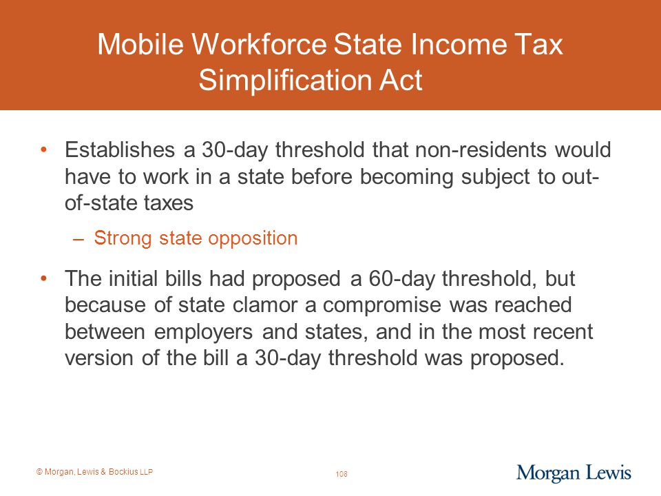 Mobile Workforce State Income Tax Simplification Act