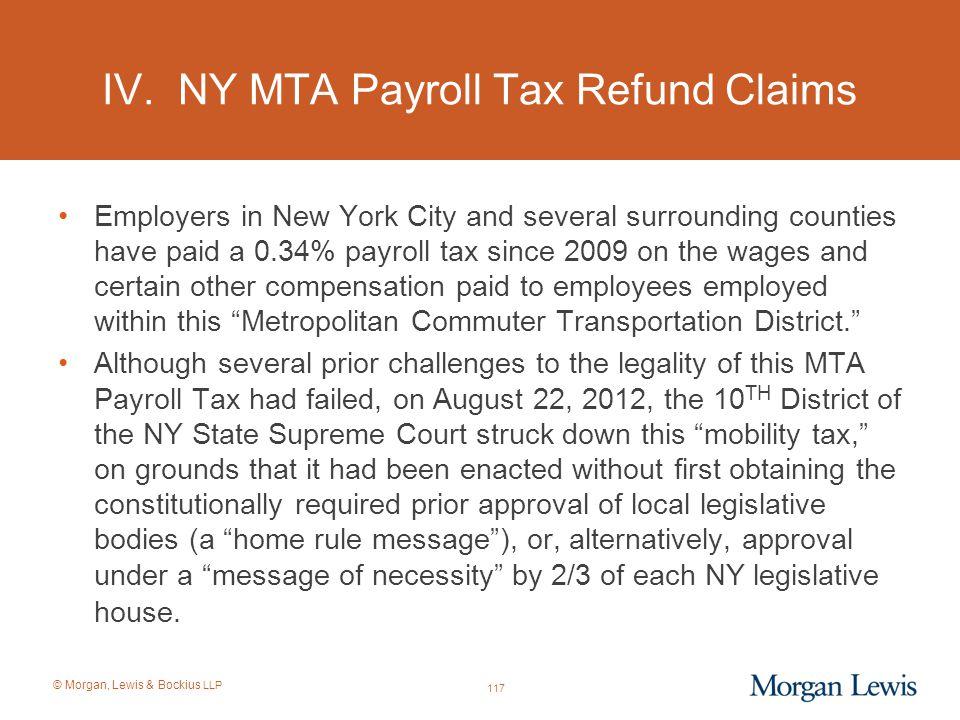 IV. NY MTA Payroll Tax Refund Claims