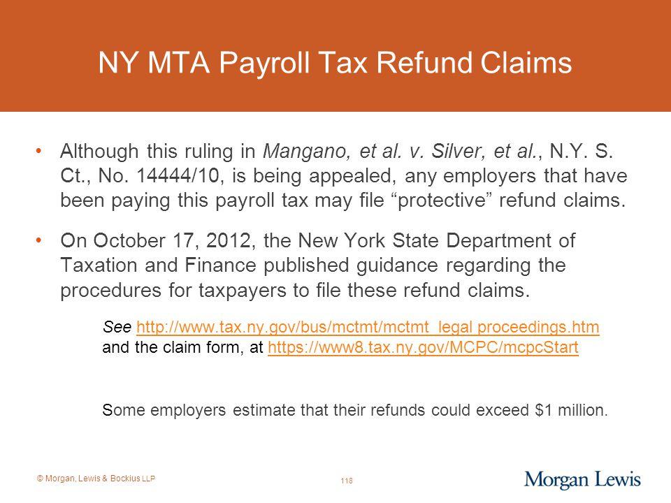 NY MTA Payroll Tax Refund Claims