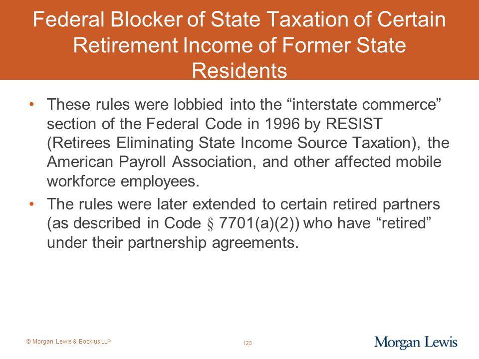 Federal Blocker of State Taxation of Certain Retirement Income of Former State Residents