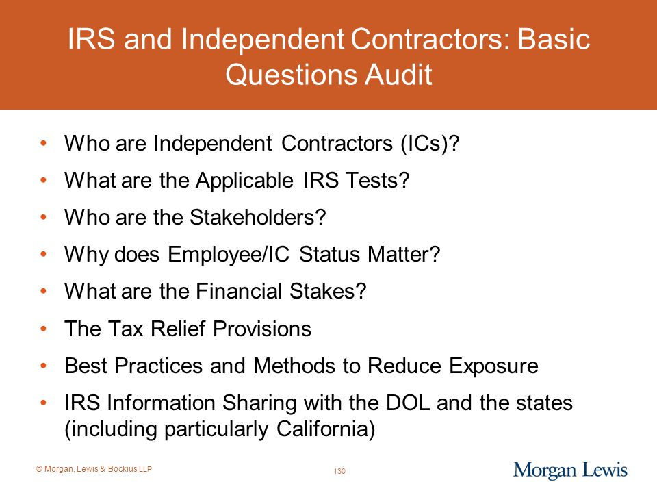 IRS and Independent Contractors: Basic Questions Audit