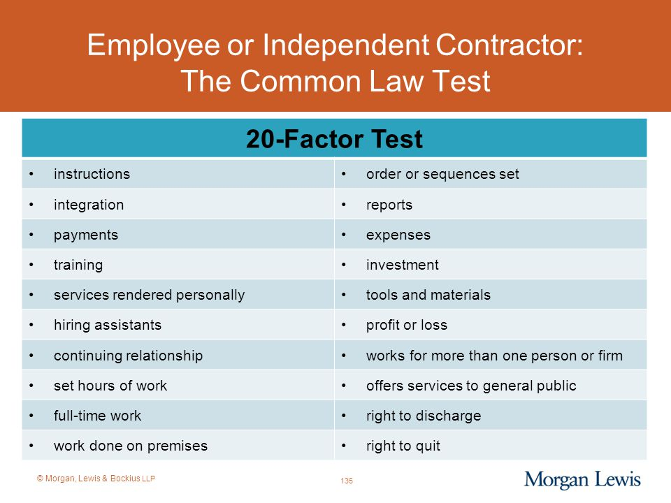 Employee or Independent Contractor: The Common Law Test