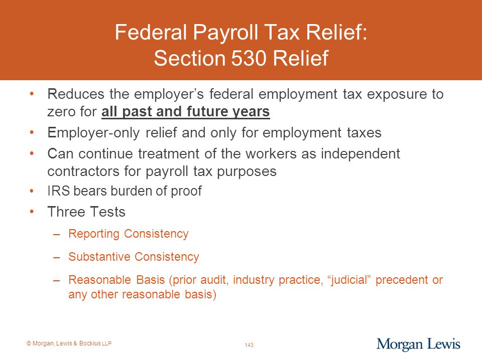 Federal Payroll Tax Relief: Section 530 Relief
