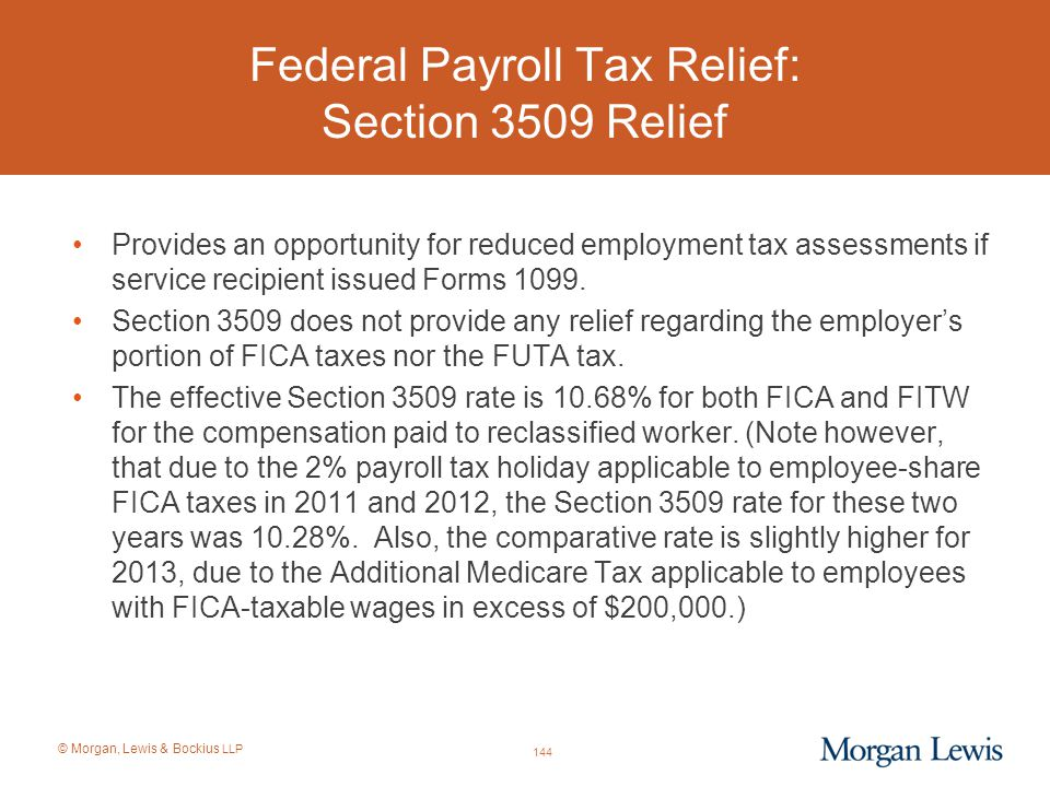 Federal Payroll Tax Relief: Section 3509 Relief