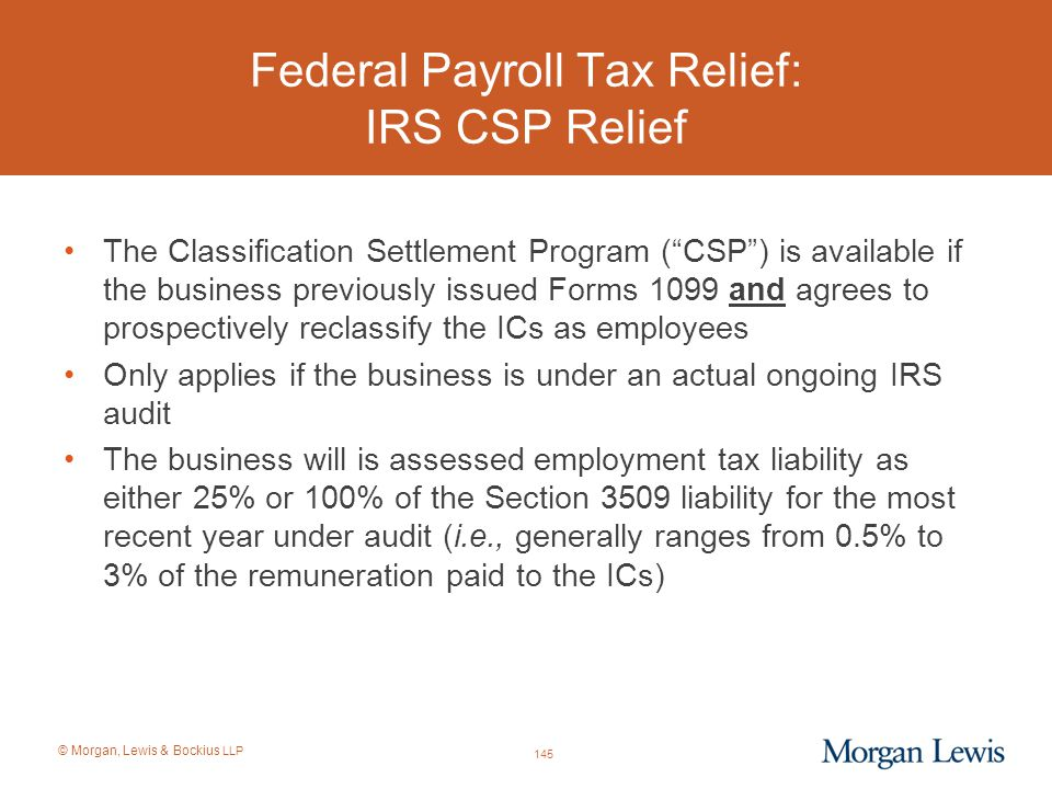 Federal Payroll Tax Relief: IRS CSP Relief