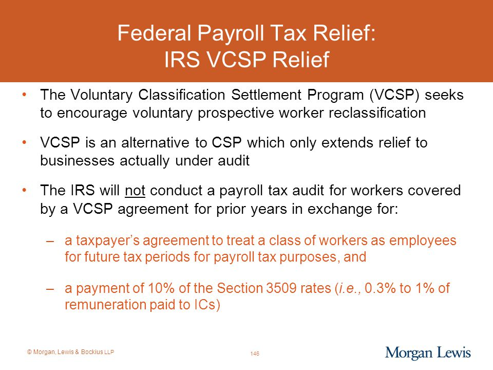 Federal Payroll Tax Relief: IRS VCSP Relief