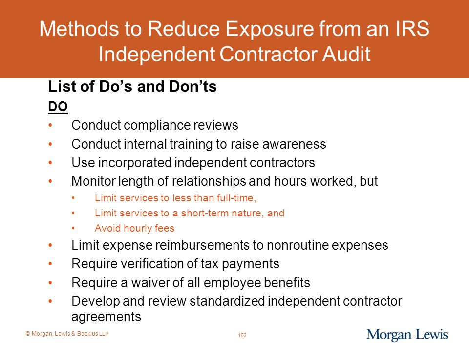 Methods to Reduce Exposure from an IRS Independent Contractor Audit