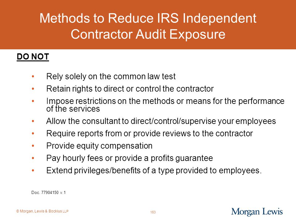 Methods to Reduce IRS Independent Contractor Audit Exposure