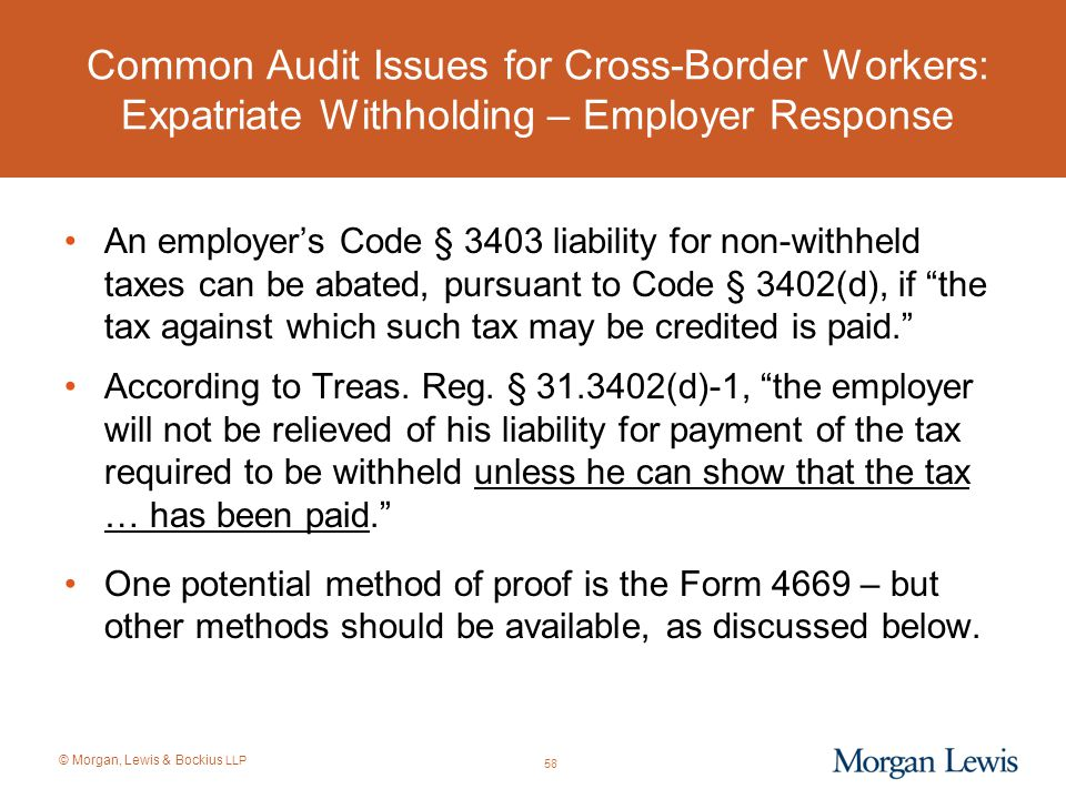 Common Audit Issues for Cross-Border Workers: Expatriate Withholding – Employer Response