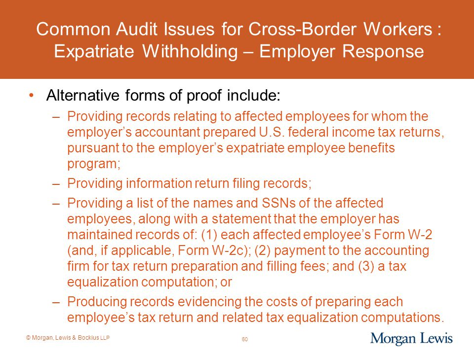 Common Audit Issues for Cross-Border Workers : Expatriate Withholding – Employer Response