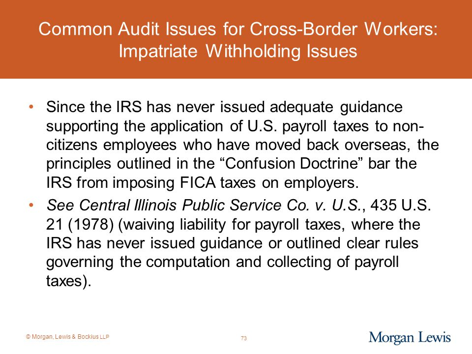 Common Audit Issues for Cross-Border Workers: Impatriate Withholding Issues