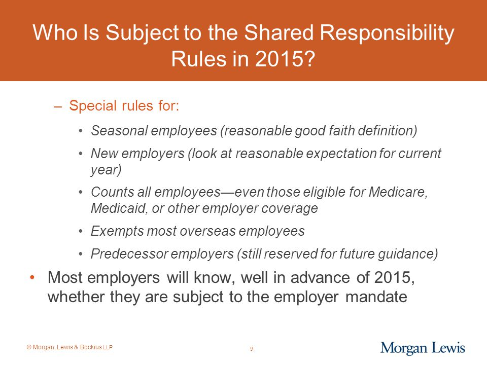 Who Is Subject to the Shared Responsibility Rules in 2015