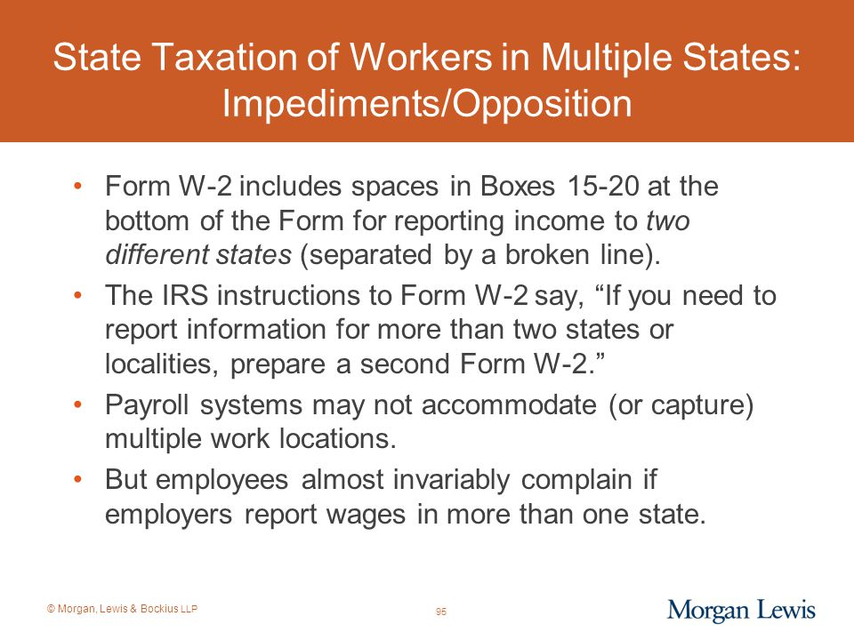 State Taxation of Workers in Multiple States: Impediments/Opposition
