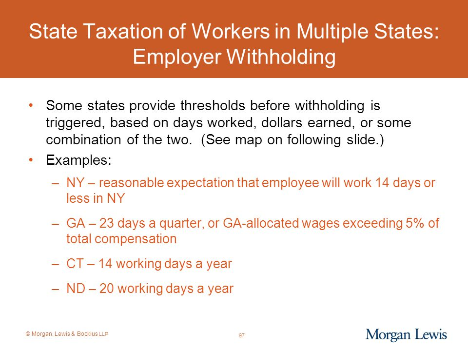 State Taxation of Workers in Multiple States: Employer Withholding