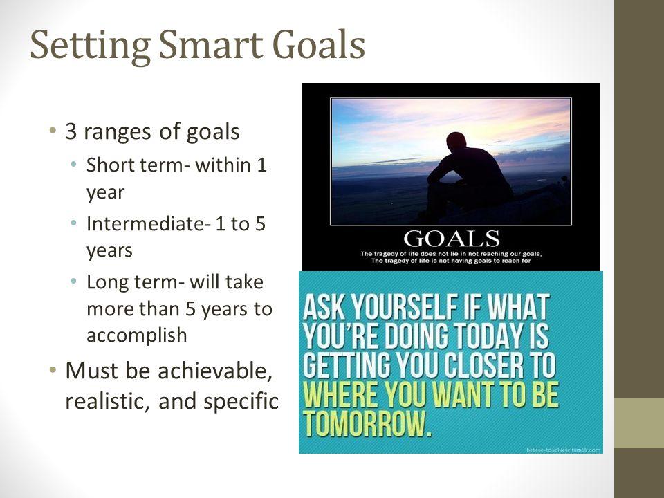 Setting Smart Goals 3 ranges of goals
