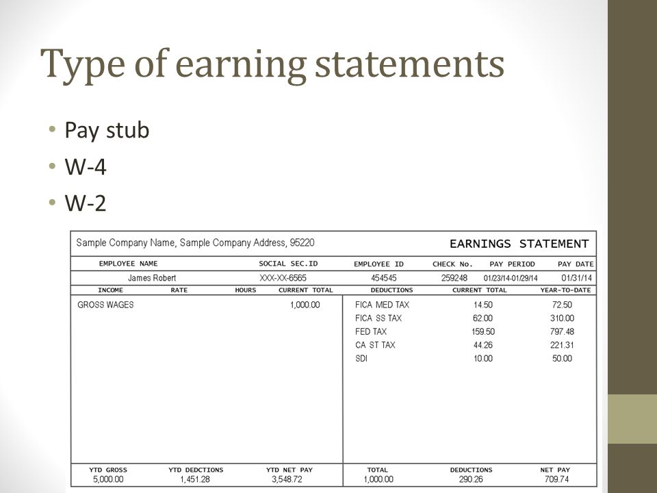 Type of earning statements