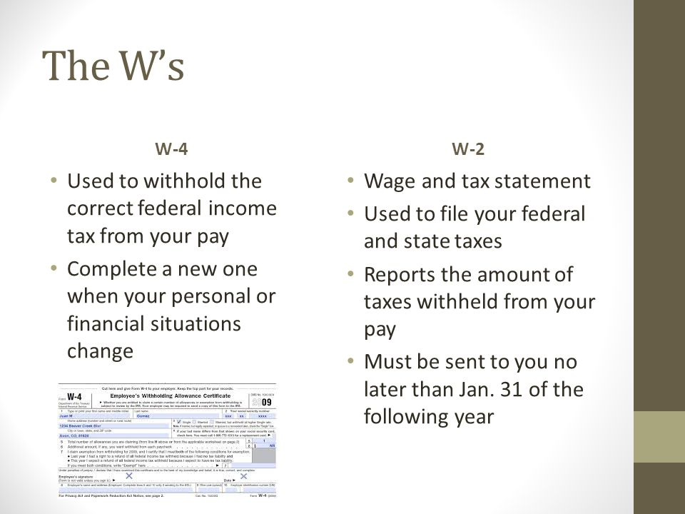 The W's Used to withhold the correct federal income tax from your pay