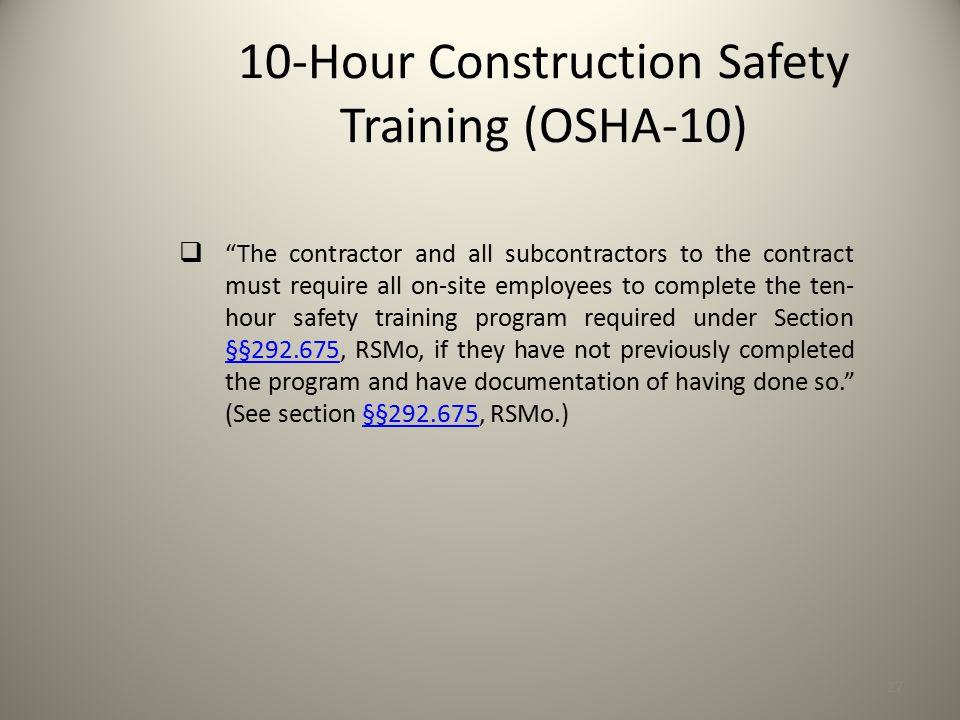 10-Hour Construction Safety Training (OSHA-10)