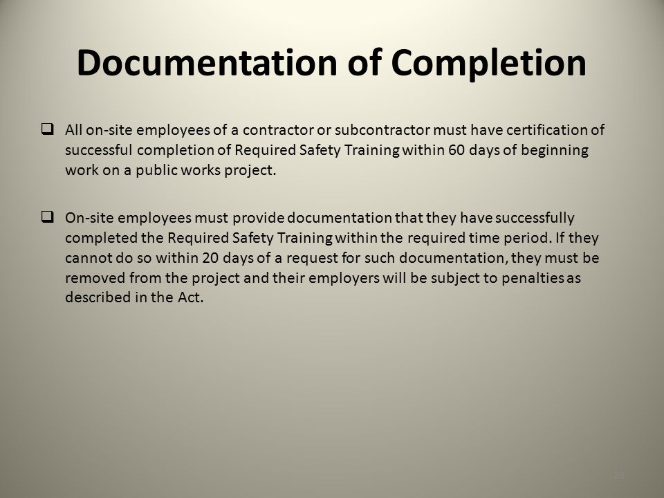Documentation of Completion