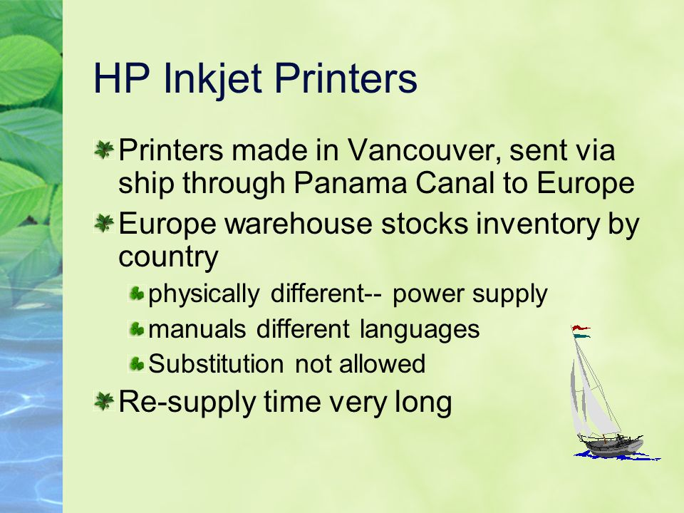 HP Inkjet Printers Printers made in Vancouver, sent via ship through Panama Canal to Europe. Europe warehouse stocks inventory by country.