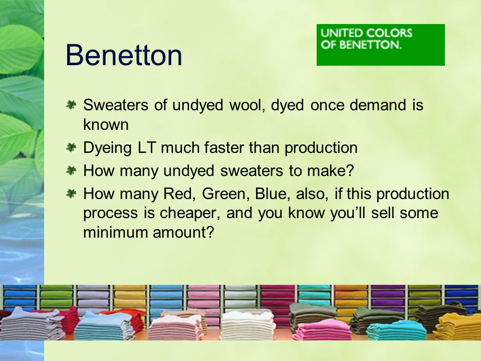 Benetton Sweaters of undyed wool, dyed once demand is known