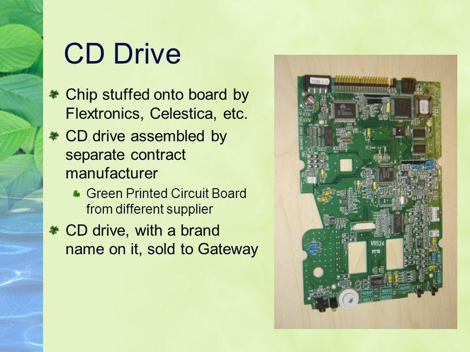 CD Drive Chip stuffed onto board by Flextronics, Celestica, etc.