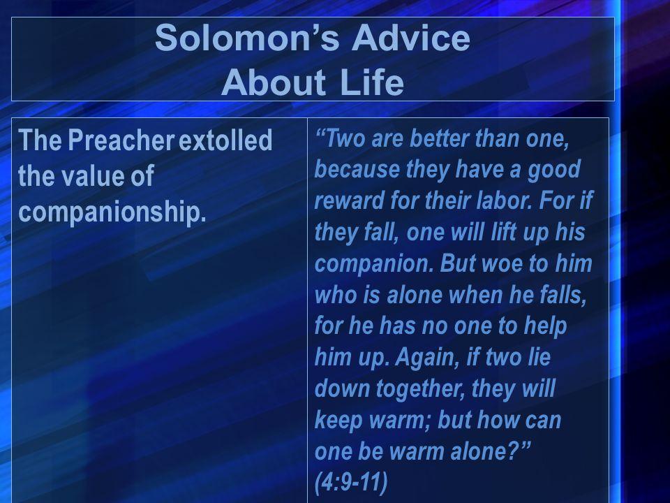 Solomon's Advice About Life