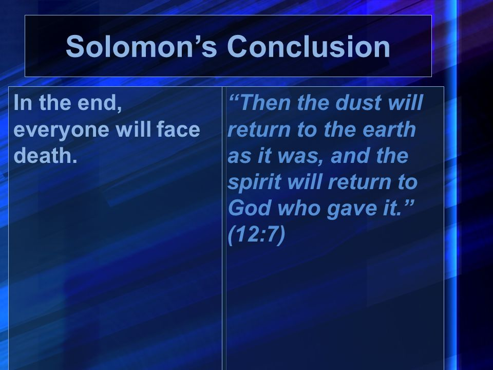 Solomon's Conclusion In the end, everyone will face death.