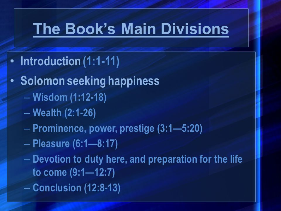 The Book's Main Divisions