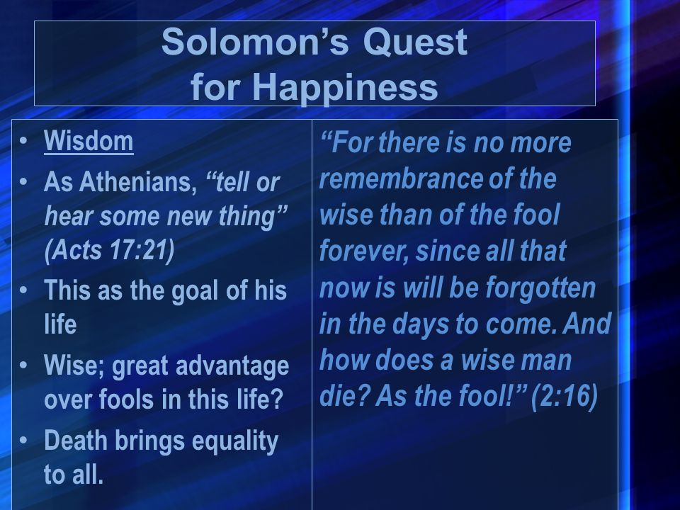 Solomon's Quest for Happiness