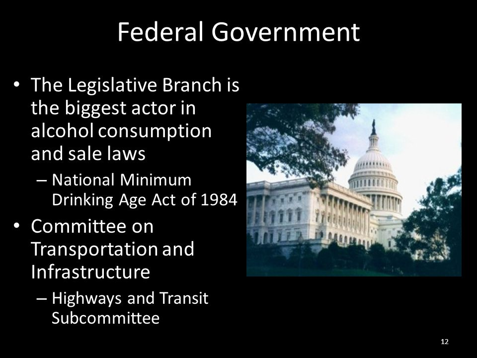 Federal Government The Legislative Branch is the biggest actor in alcohol consumption and sale laws.