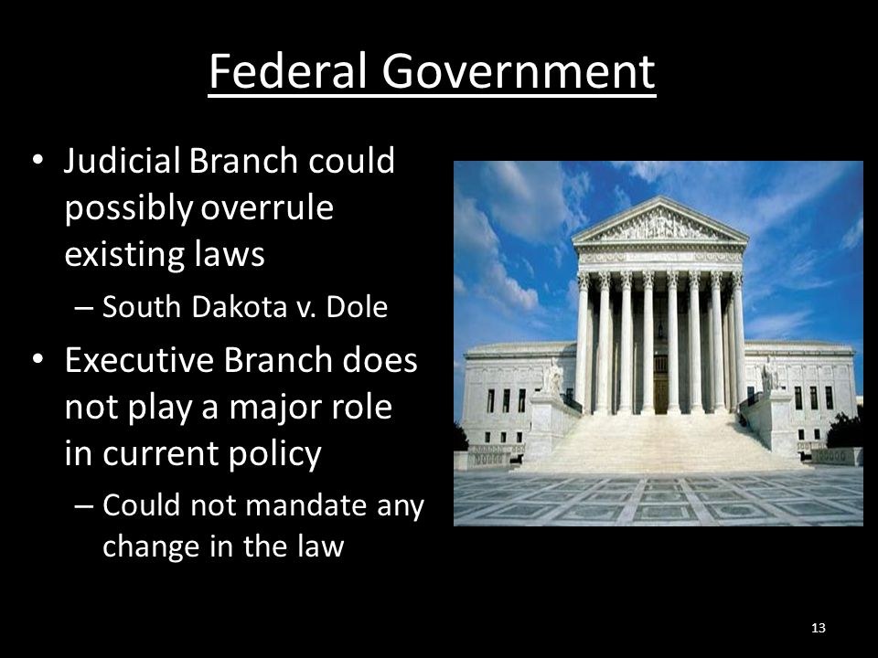 Federal Government Judicial Branch could possibly overrule existing laws. South Dakota v. Dole.