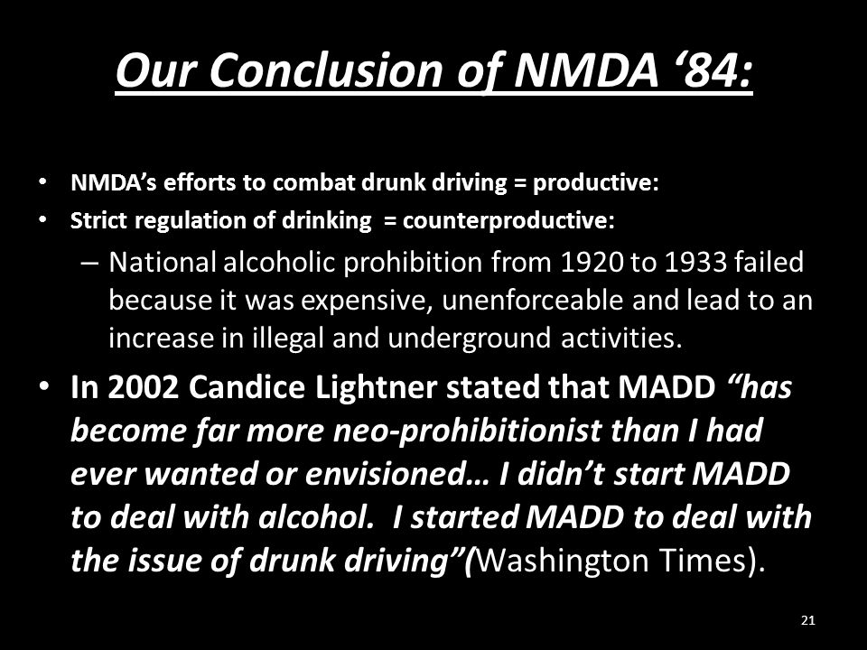 Our Conclusion of NMDA '84: