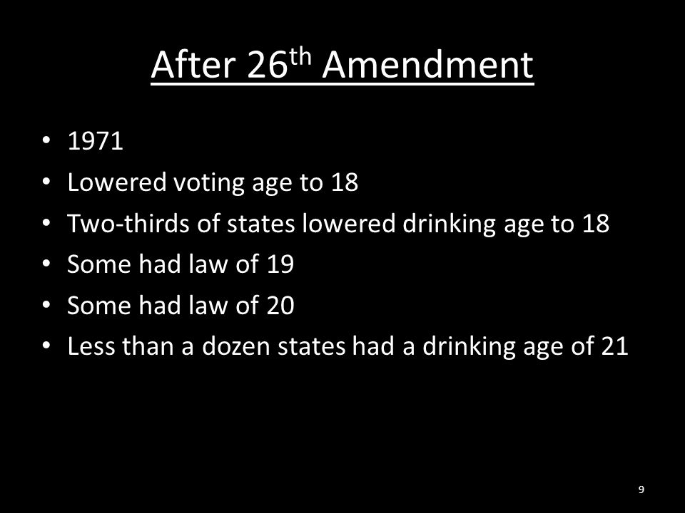 After 26th Amendment 1971 Lowered voting age to 18