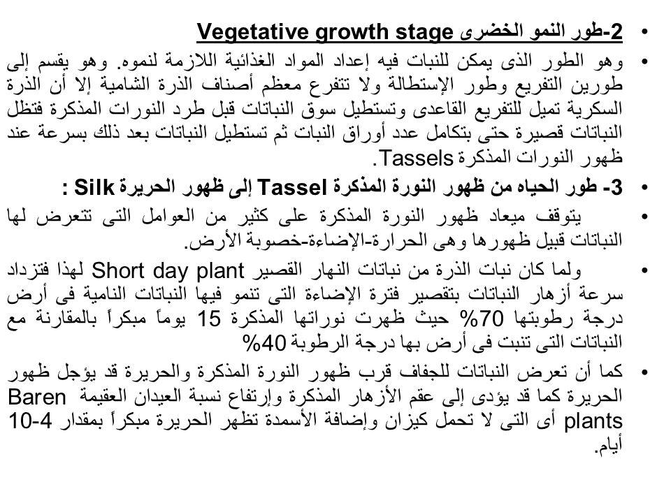 2-طور النمو الخضرى Vegetative growth stage