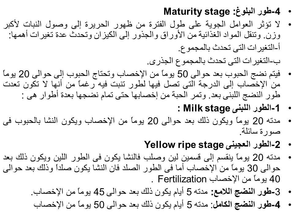 4-طور البلوغ: Maturity stage