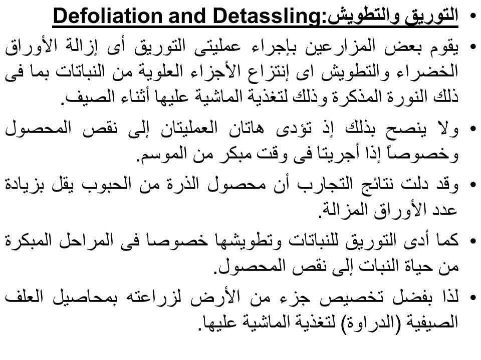 التوريق والتطويش:Defoliation and Detassling