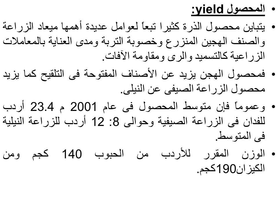 المحصول yield: