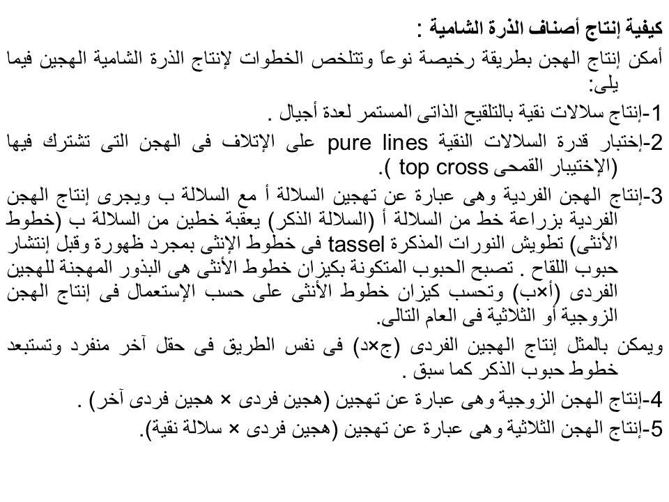 كيفية إنتاج أصناف الذرة الشامية :