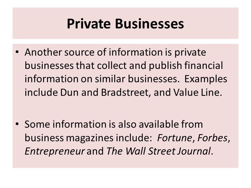 Private Businesses