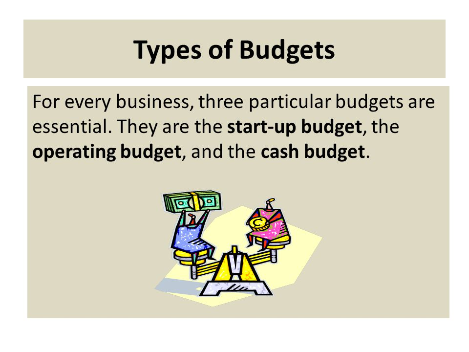 Types of Budgets For every business, three particular budgets are essential.