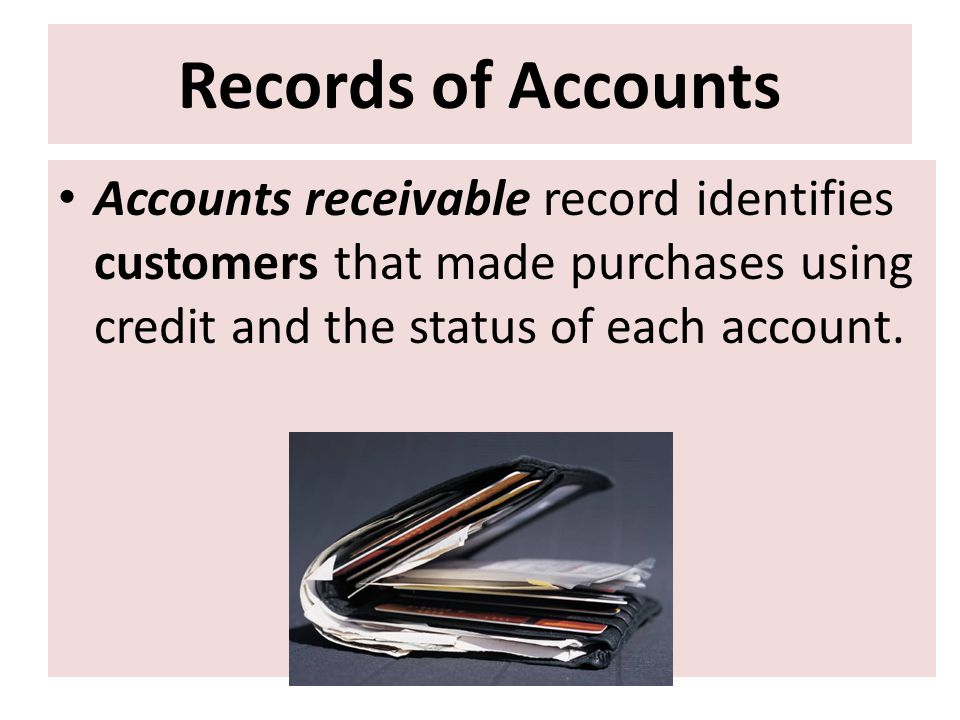 Records of Accounts Accounts receivable record identifies customers that made purchases using credit and the status of each account.