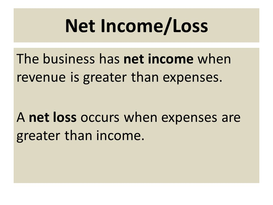 Net Income/Loss The business has net income when revenue is greater than expenses.