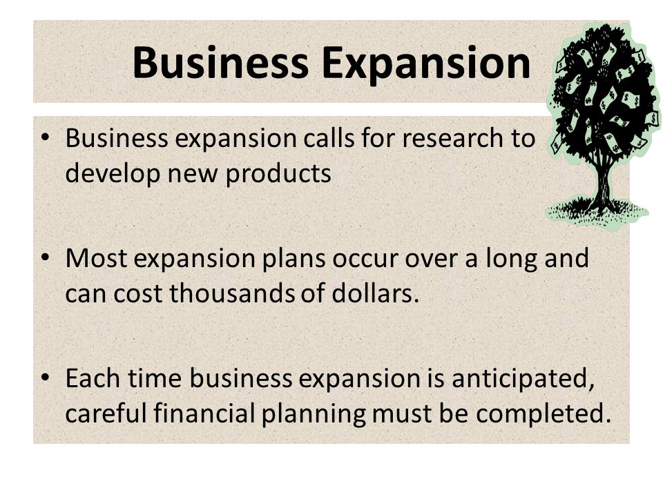 Business Expansion Business expansion calls for research to develop new products.