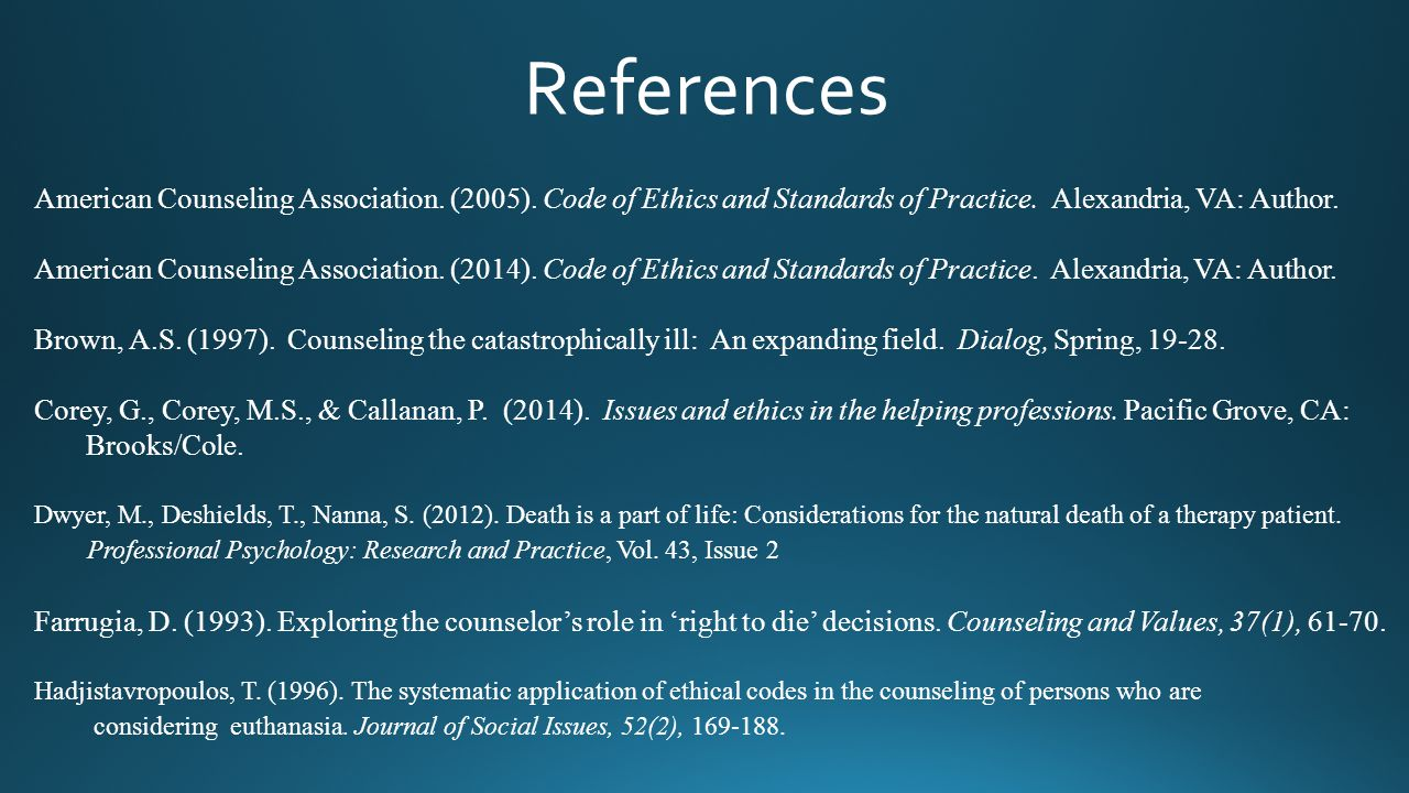 References American Counseling Association. (2005). Code of Ethics and Standards of Practice. Alexandria, VA: Author.