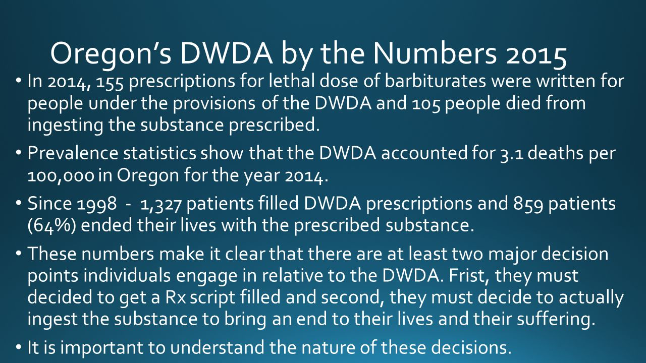 Oregon's DWDA by the Numbers 2015