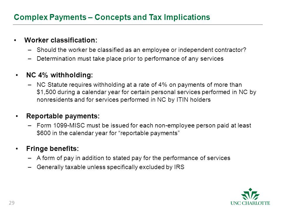 Complex Payments – Concepts and Tax Implications
