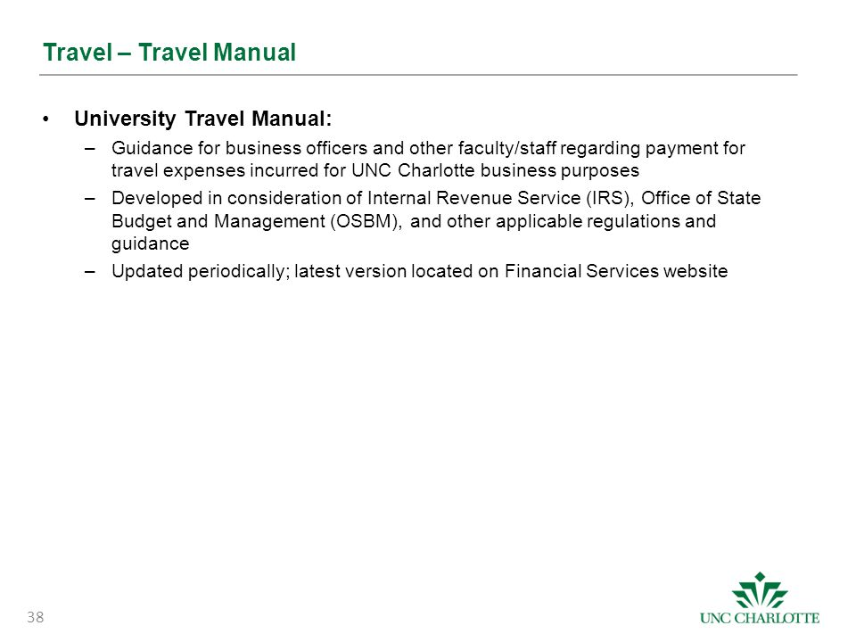 Travel – Travel Manual University Travel Manual:
