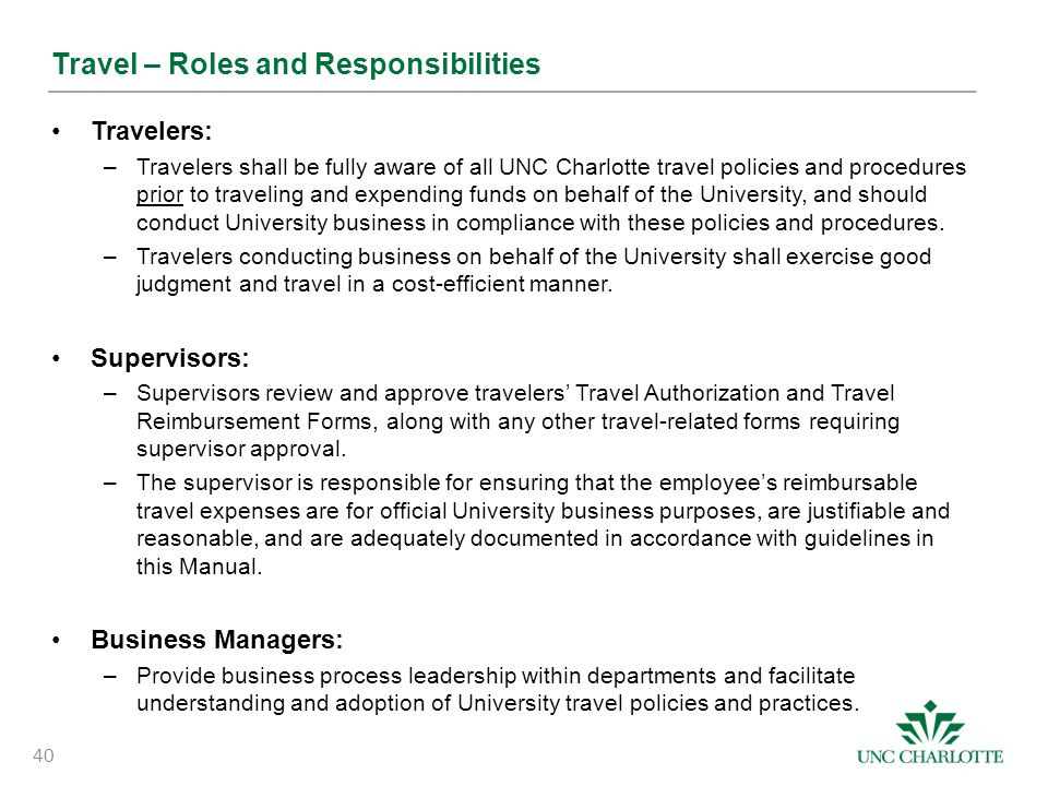 Travel – Roles and Responsibilities