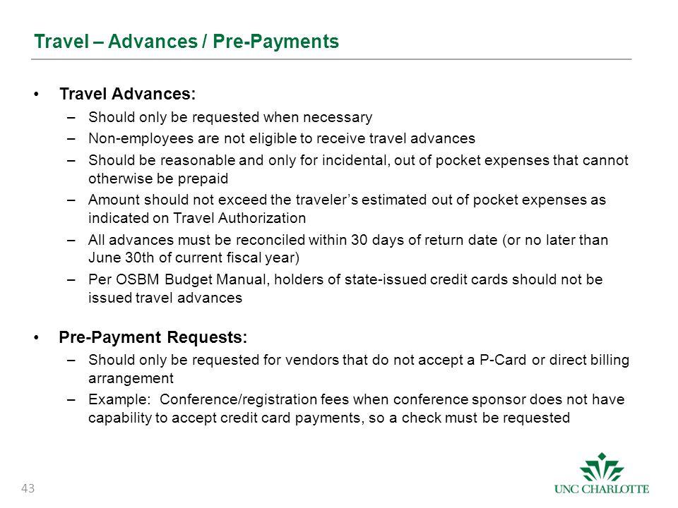 Travel – Advances / Pre-Payments